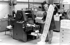 Young Steve and our Heidelberg pack-to-pack continuous press